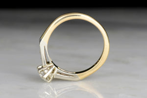 c. 1950s Mid-Century Engagement Ring in Yellow and White Gold