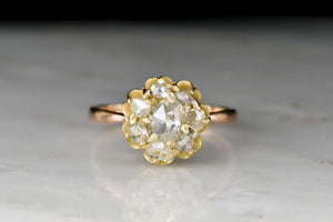 Mid-1800s Antique Rose Cut Diamond Two-Toned Gold Cluster Ring