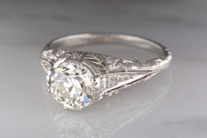 1.58 ctw Edwardian Engagement Ring in Platinum with Certified 1.33 ct J VS1 Old European Cut Diamond