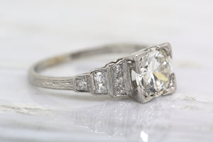 1.28ctw GIA Certified Art Deco Engagement Ring – 1.16ct Transitional Cut Diamond, .12ct Single Cut Accent Diamonds