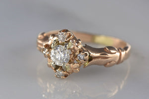 Victorian 14K Rose Gold and Diamond Cluster Engagement, Right-Hand, or Pinky Ring with French Regal Engraving Motif