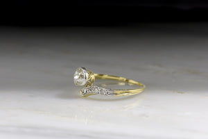 Late Victorian / Art Deco Old Mine Cut Diamond Bypass Ring