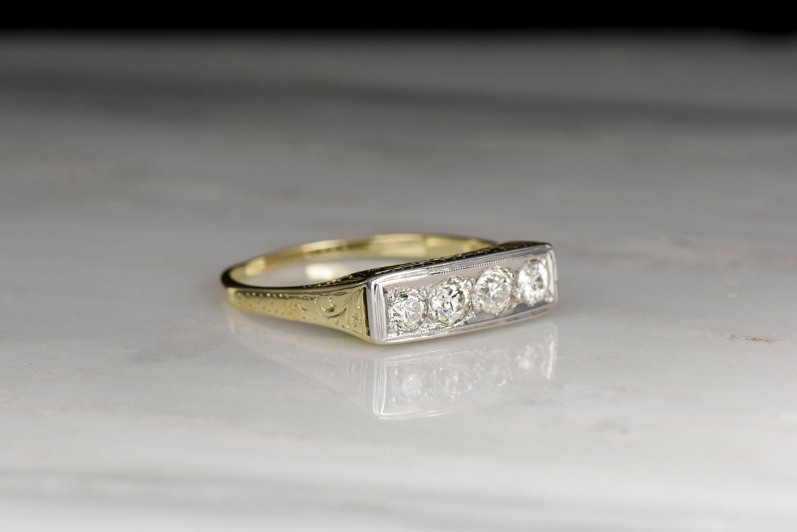 Vintage WWII Era Old Mine Cut Diamond Ring for Men or Women