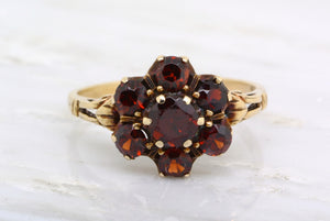 Victorian Style Garnet Gemstone Cluster / Halo Ring; 10K Yellow Gold with Rose Hue