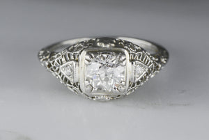 Antique Edwardian Diamond Engagement Ring with .50 Carat Old European Cut Diamond and Single Cut Diamond Accents TS50