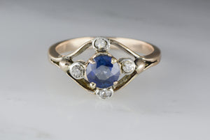Round Brilliant Blue Sapphire in Victorian Rose Gold Engagement Ring with .20 ctw Antique Single Cut Diamond Accents TS53