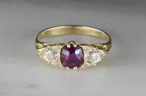 1.20 ctw Victorian / Art Nouveau Natural .60 ct Cushion Cut Ruby / Pink Sapphire and Diamond Accent Engagement / Anniversary Ring