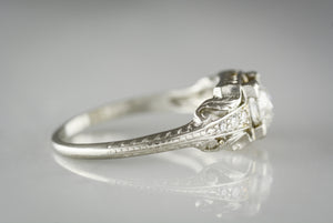 Antique Old European Cut Diamond in Edwardian / Pre-Art Deco Platinum Engagement or Anniversary Ring