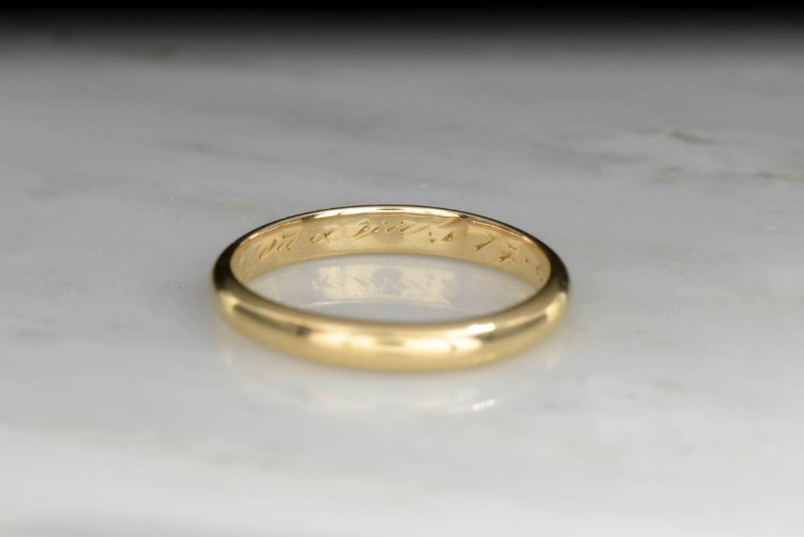Classic Gold Wedding Band Dated 1935