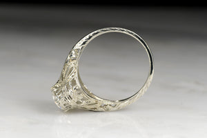 Old European Cut Diamond Engagement Ring with Ornate Open Filigree and Engraving
