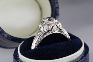 .45 Carat Old European Cut Diamond in 18K White Gold Edwardian / Pre- Art Deco Engagement Ring