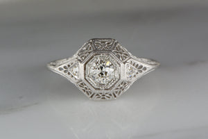 Antique .40ctw Edwardian Engagement or Cocktail Ring with .35 Carat Round Old Mine Cut Diamond Center and Single Cut Diamond Accents