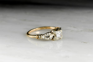 1940s WWII Era Two-Tone Gold and Diamond Ring
