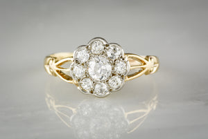 .75 ctw Old Mine Cut Diamond Victorian Engagement or Anniversary Ring in 18K Gold with Diamond Halo / Cluster TS78