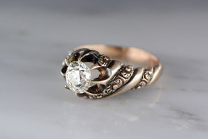 Antique 1.60 Carat Old Mine Cushion Cut Diamond in Men's or Women's Victorian 14K Rose Gold Engagement, Anniversary, or Fashion Ring