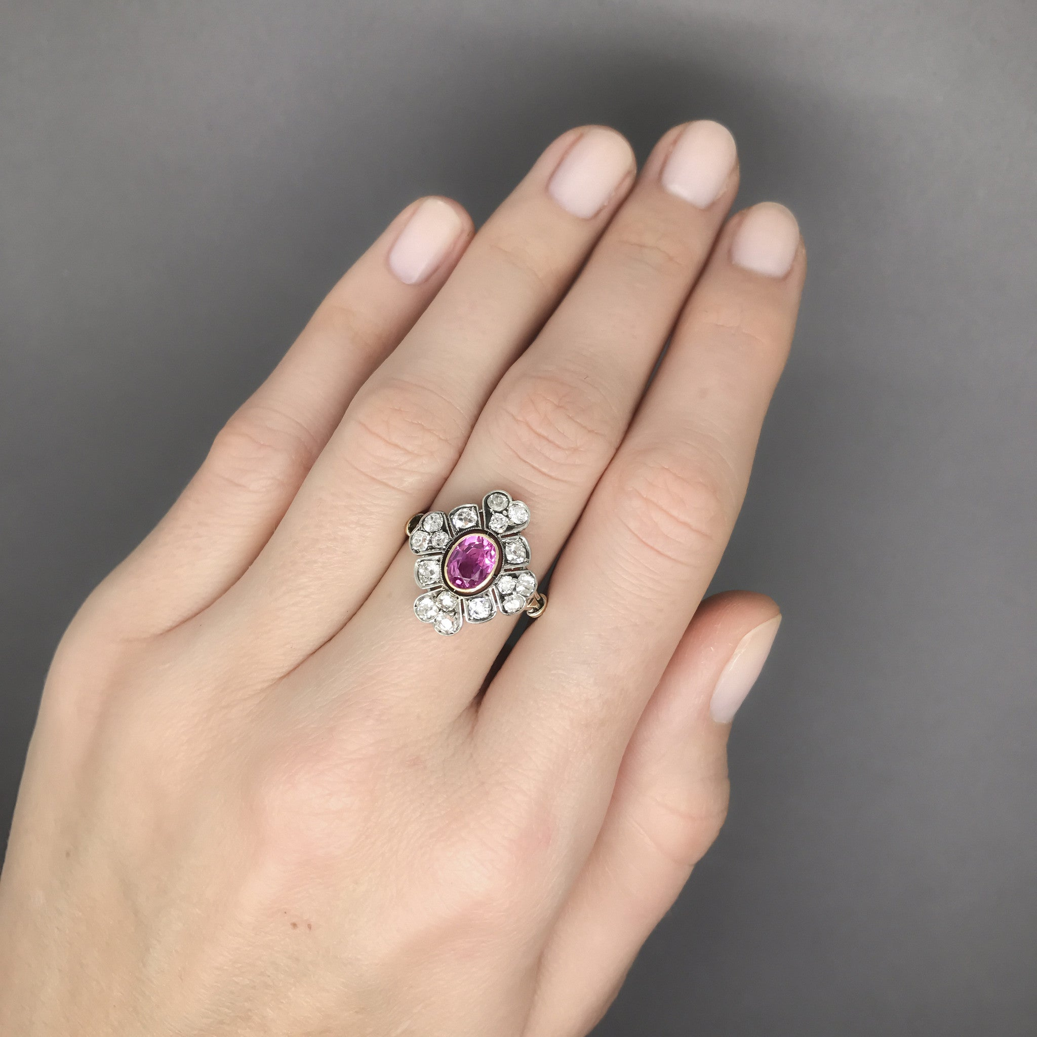 pink emerald stone cut ring rings uneek center carat platinum three engagement with diamond