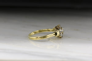 Antique Victorian Cluster Engagement Ring with Old Mine / Swiss Cut Diamond Center and Halo