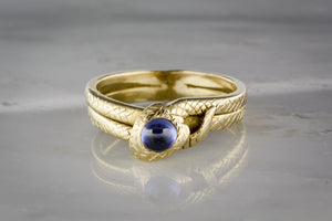 Antique Art Nouveau, Victorian Men's Sapphire and 18K Gold Snake / Serpent Engagement, Anniversary, or Wedding Ring