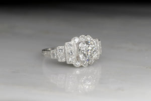 Art Deco Platinum Engagement Ring with a GIA 1.00 Carat Old European Cut Diamond