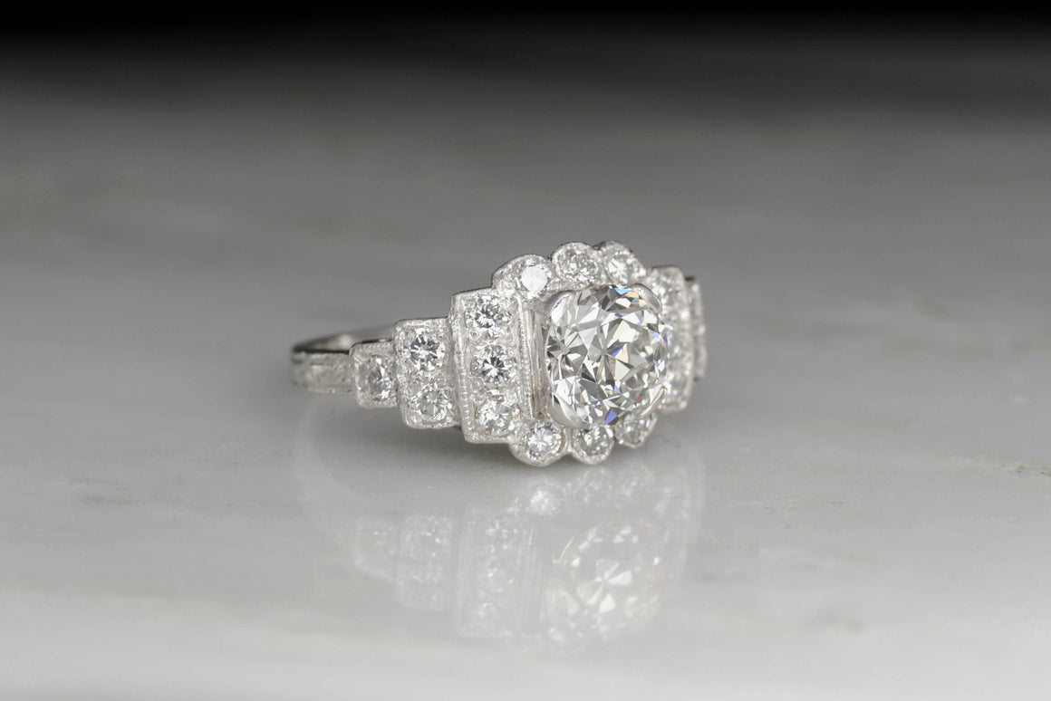 Edwardian Platinum Engagement Ring with a GIA 1.00 Carat Old European Cut Diamond