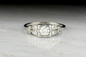 Vintage Art Deco / Retro Transitional Cut Diamond Engagement Ring