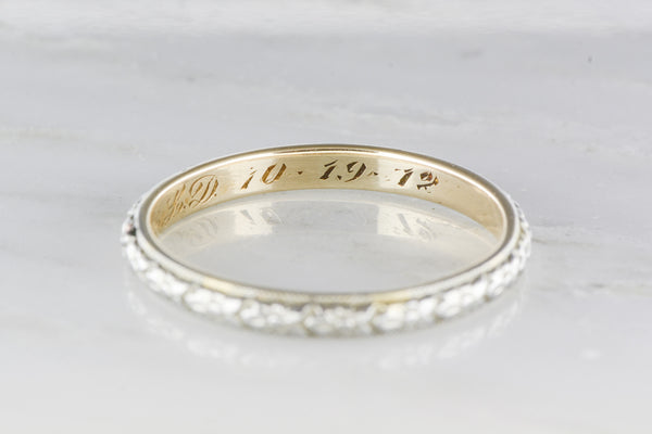 Antique Two Tone Men S Victorian 14k Gold Wedding Band