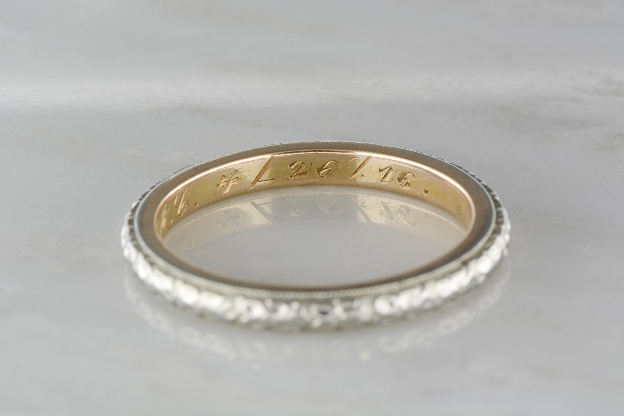 Antique Two Tone Men s Victorian 14K Gold Wedding Band Engraved