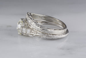 Antique c. 1930s Edwardian Platinum Wedding Band with Single Cut Diamonds