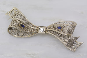 1920s Art Deco 14K White Gold Brooch with Old European Cut Diamond and Marquis Cut Sapphires