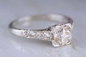 1.03ct Art Deco Old European Cut Diamond Engagement Ring with .12ctw Single Cut Diamond Accents