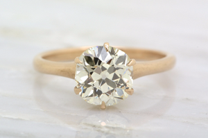 2.01ct VS1 Late Old Mine Cut / Early Old European Cut Diamond in Victorian Yellow/Rose Gold Tiffany Mount