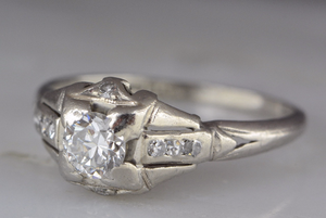 Vintage .41ctw Art Deco Platinum Engagement, Stacking, or Anniversary Ring with Early Round Brilliant Diamond Center and Single Cuts  PPR545