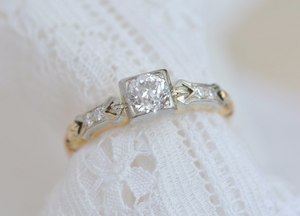 .45 ctw Art Deco Old European Diamond Engagement Ring in Yellow and White Gold with Bow and Chain Motif