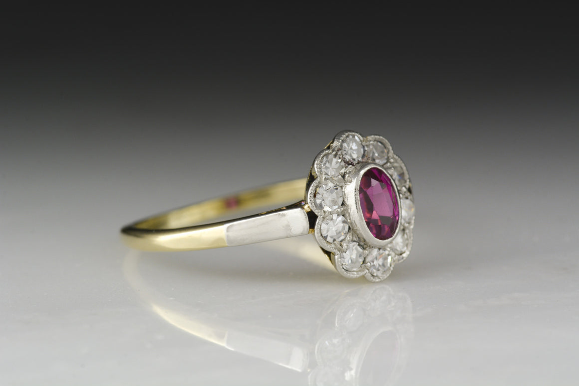RESERVED!!! Payment Towards Mid-Century Victorian Revival Pink Sapphire and Single Cut Diamond Halo / Cluster Ring