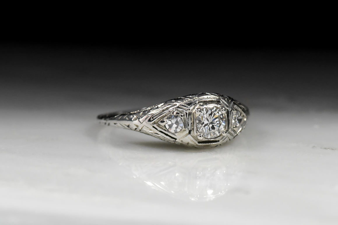 Vintage Art Deco Modern Round Brilliant Cut Diamond Engagement Ring with Edwardian Details