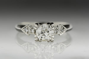Retro 1940s Old European Cut Diamond Engagement Ring