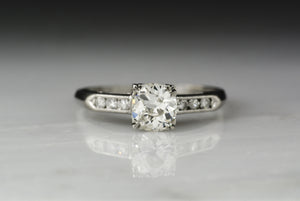 Antique 1940s Retro / Art Deco Engagement Ring with .75 Carat Early Old European Cut Diamond Center