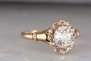 1.25ctw Victorian c. 1880s 14K Rose / Yellow Gold with 1ct Cushion Old Mine Cut Diamond and 12 Rose Cut Diamond Accents