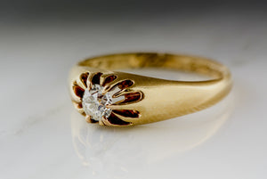 Antique 1893 Victorian Rose-Yellow Gold Engagement Ring with a Round Old Mine Cut Diamond in a Belcher Setting