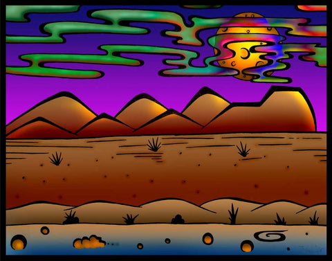 Desert Moon Clouds, art, artist, draw, drawing, create, creating, pencil, pen, ink, color, colour, psychedelic,   groovy, trippy, weed, 420, lsd,