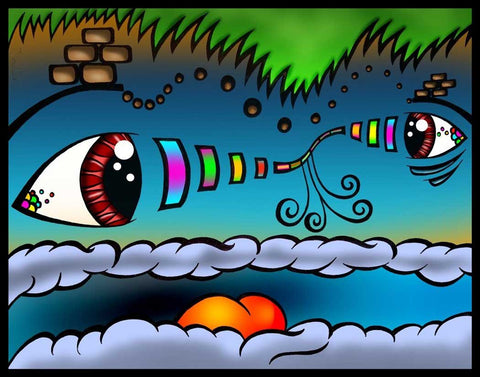 Living Cloudscape, art, artist, draw, drawing, create, creating, pencil, pen, ink, color, colour, psychedelic,   groovy, trippy, weed, 420, lsd,