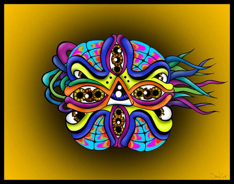 Monster Mask Mash, art, artist, draw, drawing, create, creating, pencil, pen, ink, color, colour, psychedelic,   groovy, trippy, weed, 420, lsd,