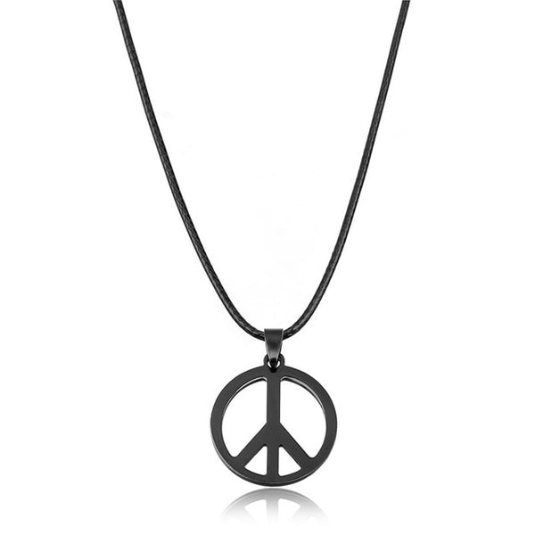 XINYAO 2017 Black Stainless Steel Titanio Peace Necklaces & Pendants For Men Hippie Punk Long Leather Necklace Male Jewelry