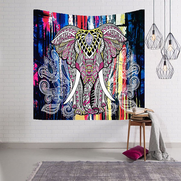 "60""*40"" 3D Digital Printing Indian Elephant Tapestry Tapestry Wall Hanging Bedspread Throw Hippie Boho Decoration"