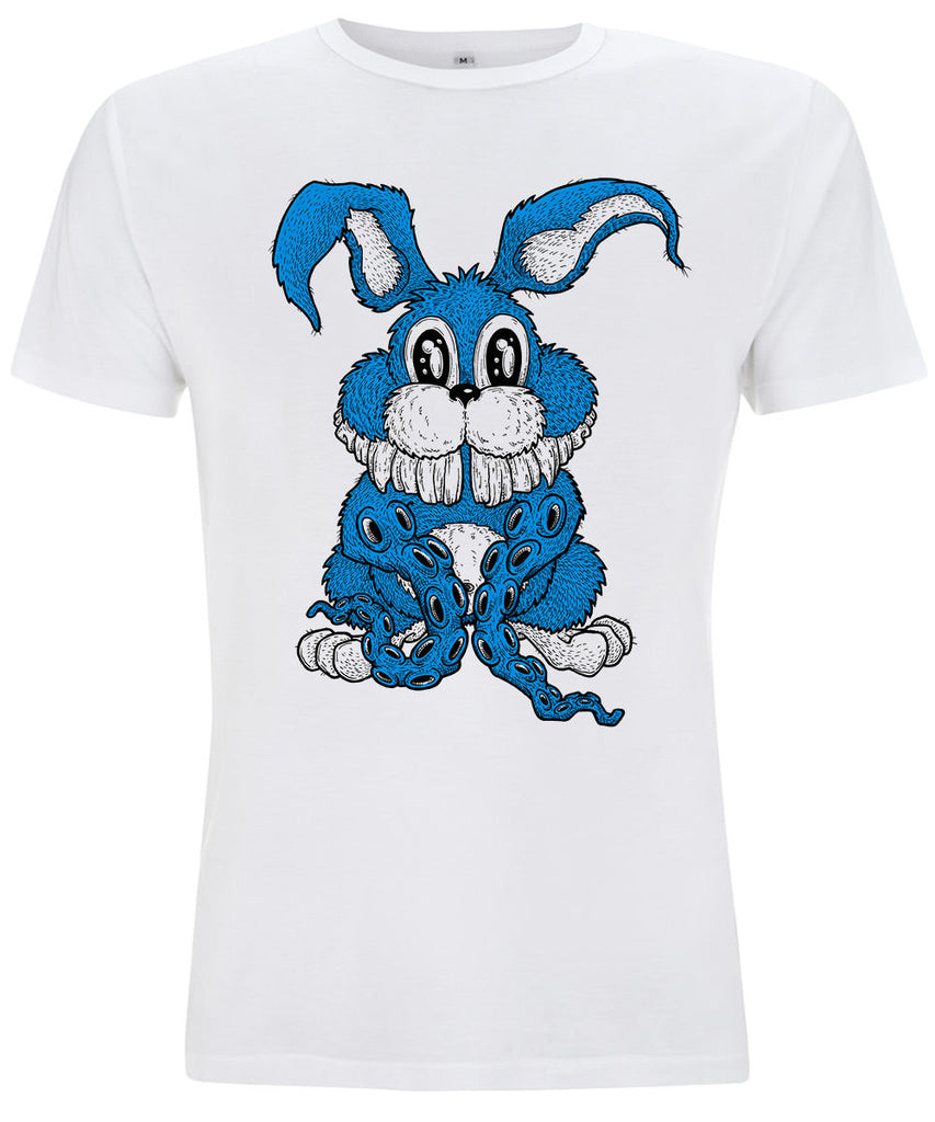 Bunntacles Rabbit 10tacled Men Bamboo Short Sleeve T-shirt White Front