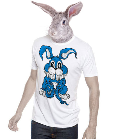 Bunntacles Rabbit 10tacled Men Bamboo Short Sleeve T-shirt White Model
