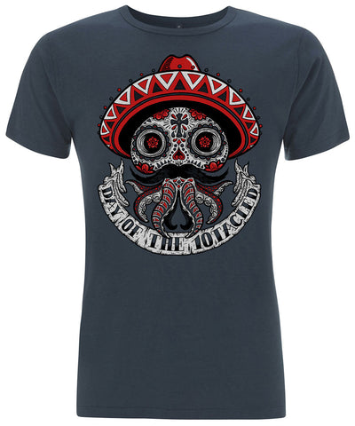 CALAVERA 10tacled Men Bamboo Short Sleeve T-shirt Denim Blue Front