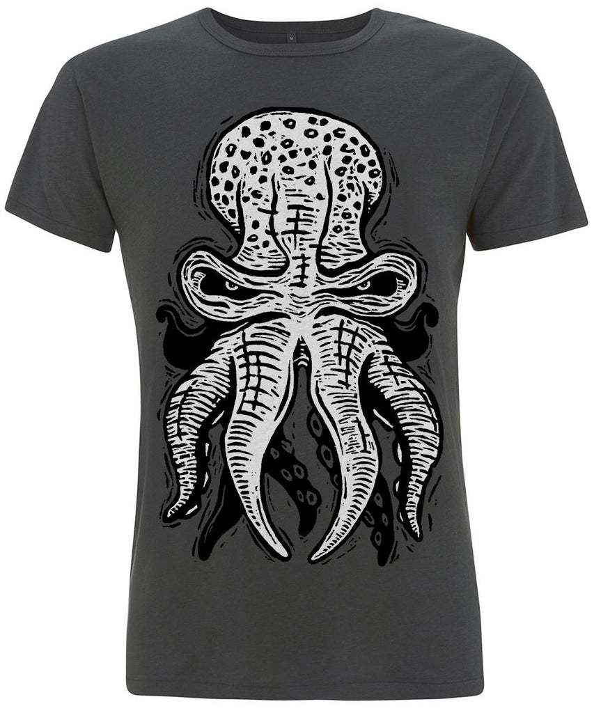 OCTOPUS 10tacled Men Bamboo Short Sleeve T-shirt Charcoal Front