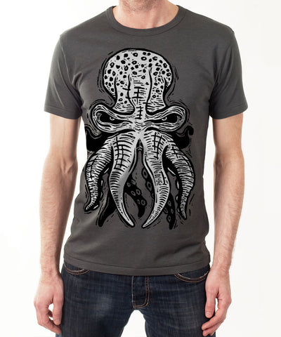 OCTOPUS 10tacled Men Bamboo Short Sleeve T-shirt Charcoal Model