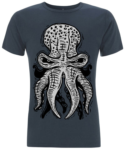 OCTOPUS 10tacled Men Bamboo Short Sleeve T-shirt Denim Blue Front